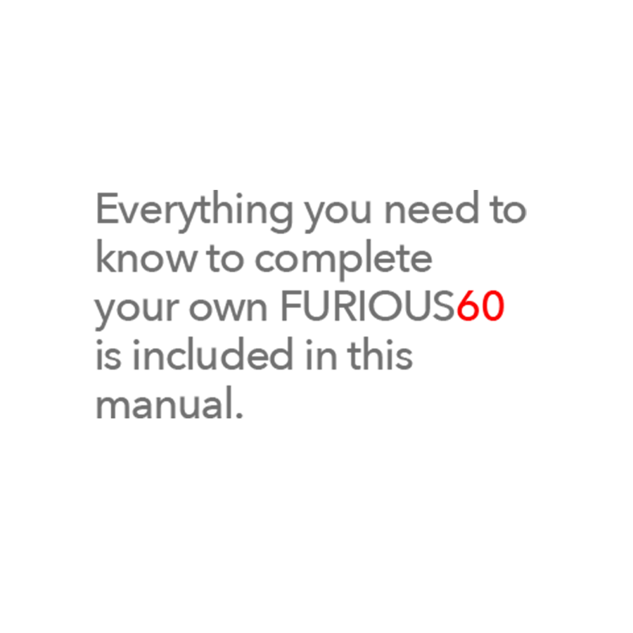 FURIOUS 60 CUTTING MANUAL