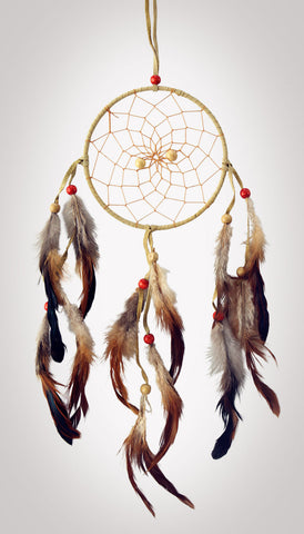 "Item #owg002 – 5"" Classic Leather, Feather & Bead Dream catcher"