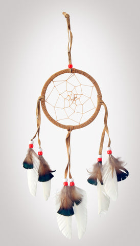 "Item #owg003 – 4-1/2"" White Feather, Leather & Bead Dream catcher"