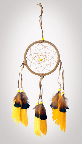 "Item #owg004 – 4-1/2"" Yellow Feather, Leather & Bead Dream catcher"