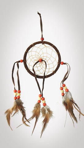 "Item #owg005 – 4-3/8"" Dream catcher with Beads and Leather"