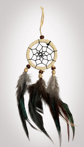 "Item #owg006 – 1 Dozen 2-1/2"" Tan 3 Drop Dream catcher Sets"