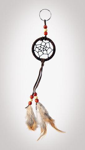 "Item #owg009 – 2"" Chocolate Brown Dream catcher Keychains"