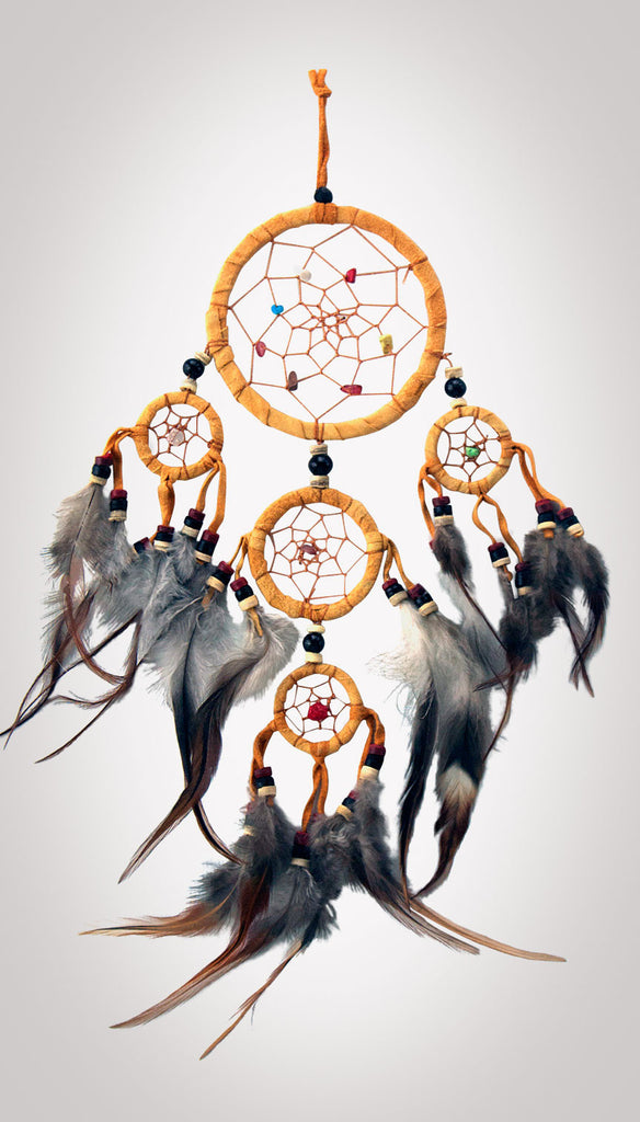 "Item #owg010 – 5 Ring 3-1/2"" Natural Leather Dream catcher"