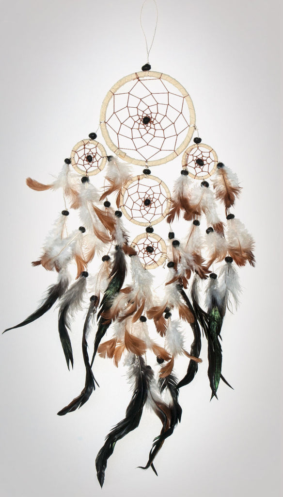 "Item #owg012 – 5 Ring 4-1/2"" Ivory Dream catcher"