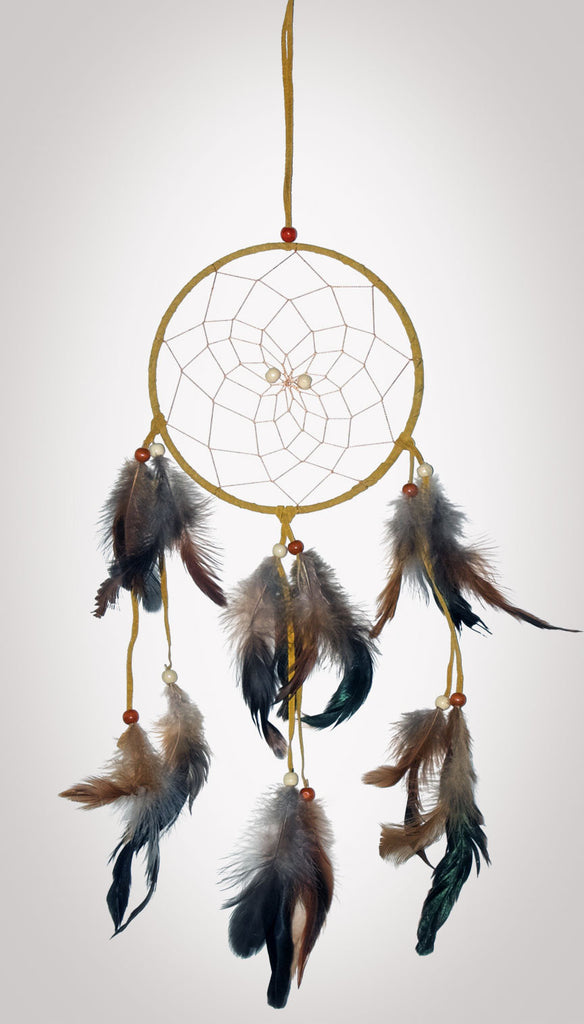 "Item #owg013 – 6-1/2"" Classic Leather, Feather & Bead Dream catcher"