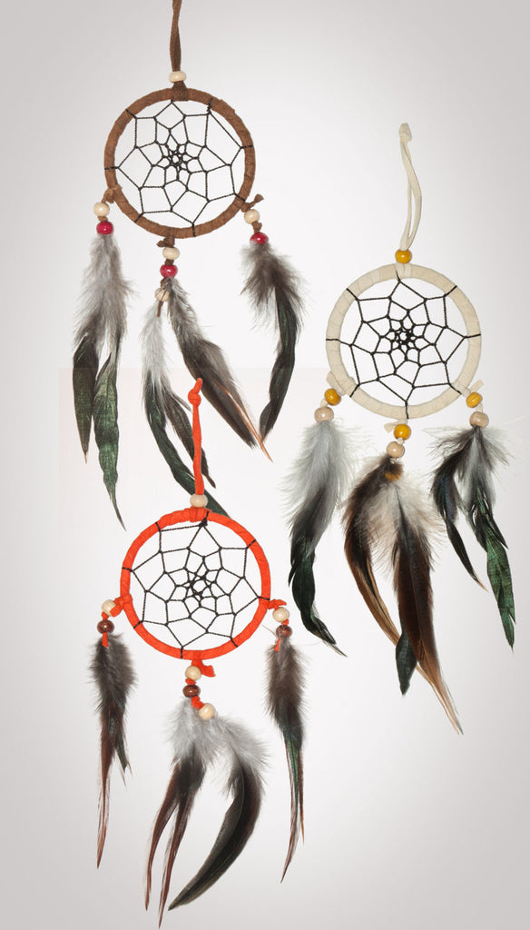 Item #owg014 - 1 Dozen 3 Drop Dream catcher Set (Warm colors).