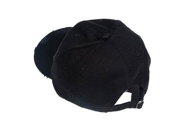 Black Embroidered Distressed Hat