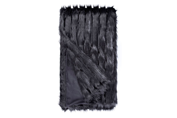 Black Vertical Fox Faux Fur Throw
