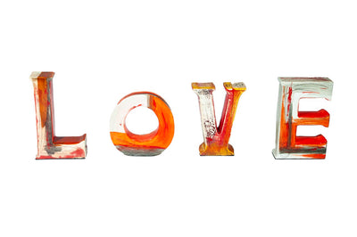 """LOVE"" Red/Orange- Medium"