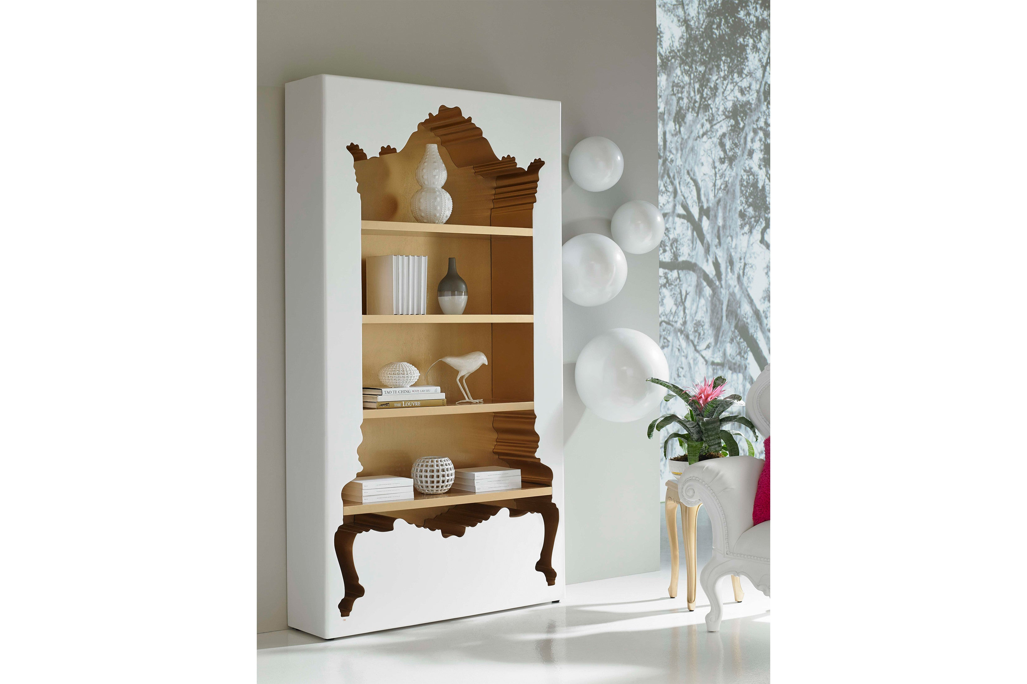 Inside Out Bookcase In White U0026 Gold