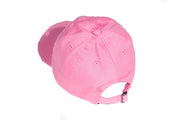 Pink Embroidered Distressed Hat