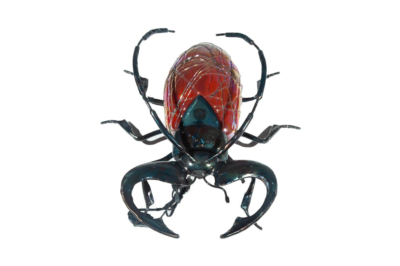Beetle Hand-Blown Glass Red/Pink (Large)