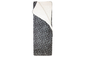 Gray Leopard Sherpa Throw