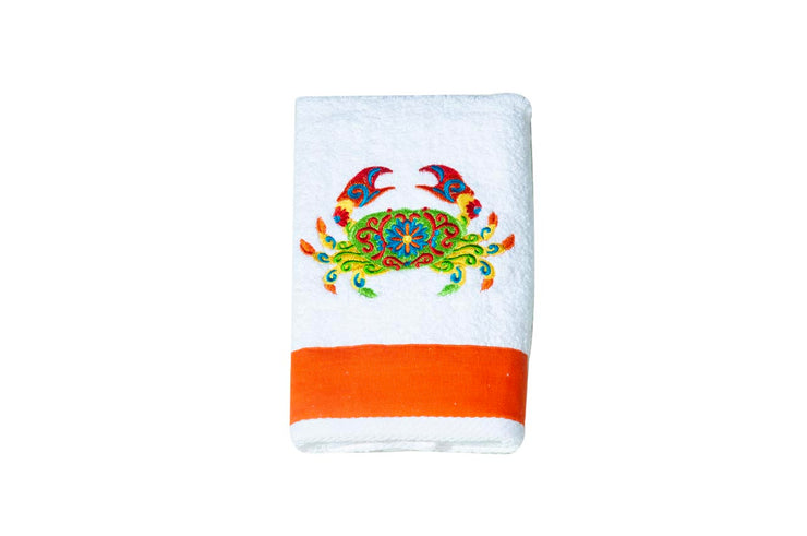 Embroidered Crab Kitchen Towel