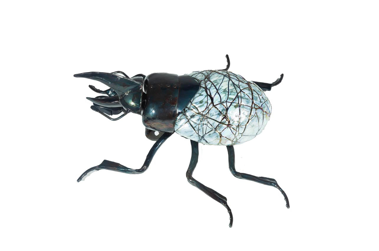 Beetle Hand-Blown Glass Silver (Small)