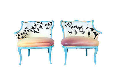 Soaring sunset birds chairs