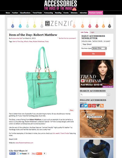 Robert Matthew's Zoey featured in Accessories Magazine