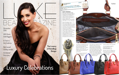 luxe beat magazine feature news of Robert Matthew handbags and purses.