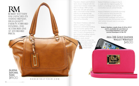 Fashion affair magazine feature of the Robert Matthew Alayna Tote and Aria Wristlet Wallet.