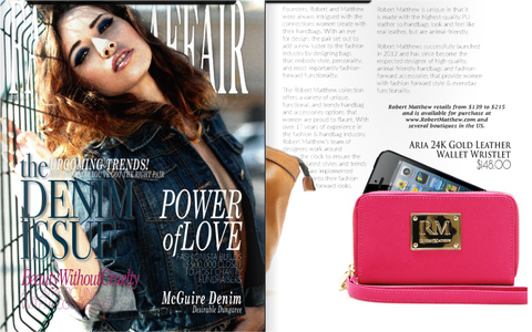 Fashion Affair magazine news feature of Robert Matthew handbags and fashion.