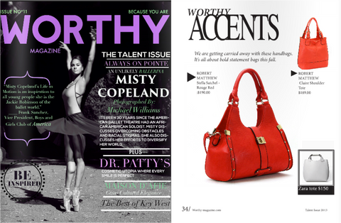 Worthy Magazine news feature of Robert Matthew handbags and fashion