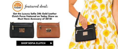 Robert Matthew 24k Gold Leather Sofia Clutch Purse was just featured on Today Show