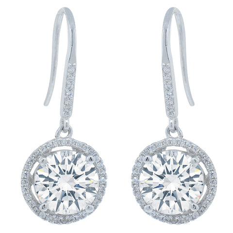 Robert Matthew Jade Sterling Silver Round Cut CZ Halo Drop Earrings