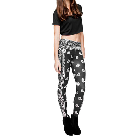 Robert Matthew Black Bandana Print Leggings