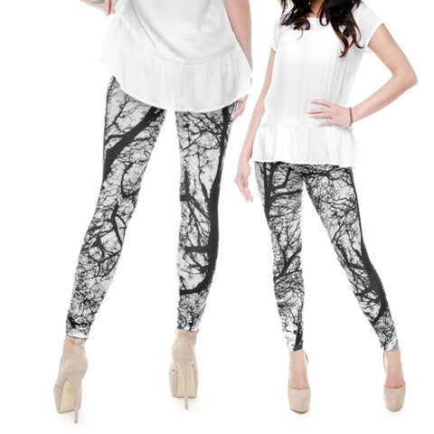 Robert Matthew One Size Print Leggings - Black and White Trees