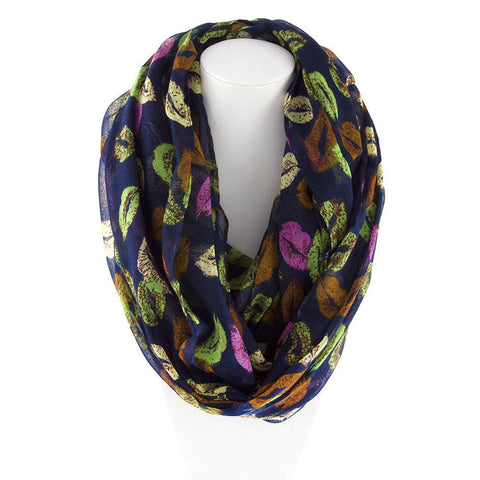 Robert Matthew Amanda Lip Pop Infinity Scarf - Navy