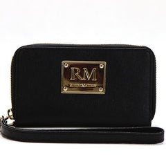 Robert Matthew Sadie 24K Gold Leather Wallet Wristlet - Black Diamond