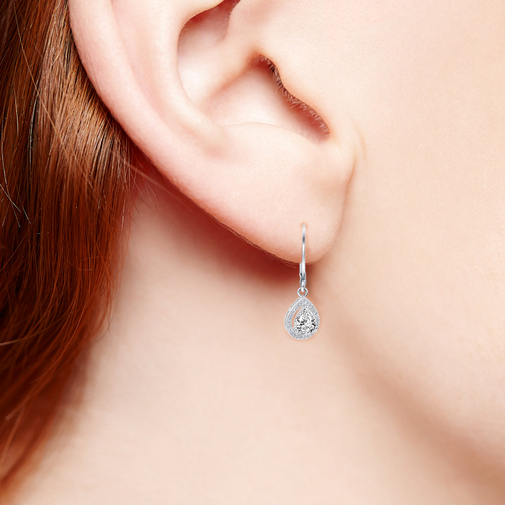 Robert Matthew Avery 18k White Gold Teardrop Cut CZ Halo Drop Earrings