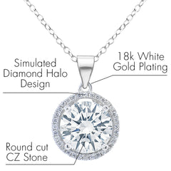 Robert Matthew Ashley 18k White Gold Halo CZ Pendant Necklace