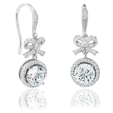 Robert Matthew Taylor 18k White Gold Bow Tie Round Cut CZ Halo Drop Earrings