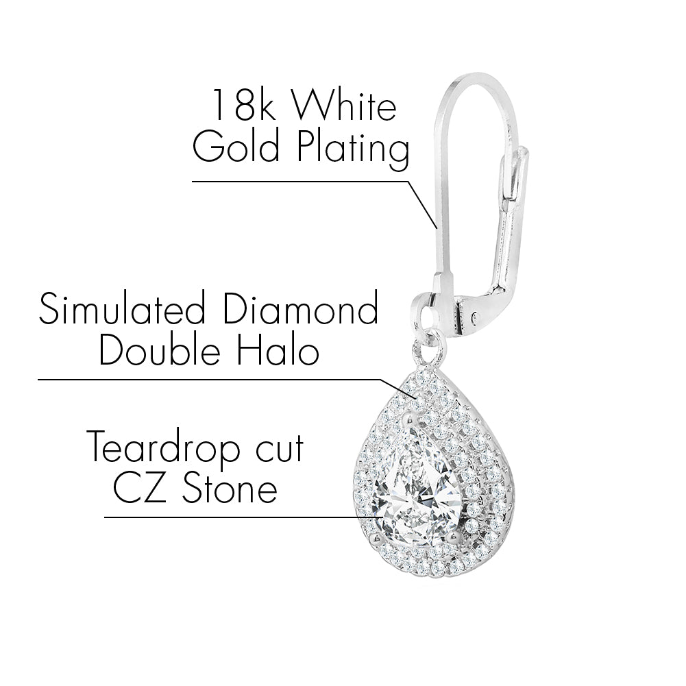 Robert Matthew Ella 18k White Gold Teardrop Cut CZ Double Halo Drop Earrings