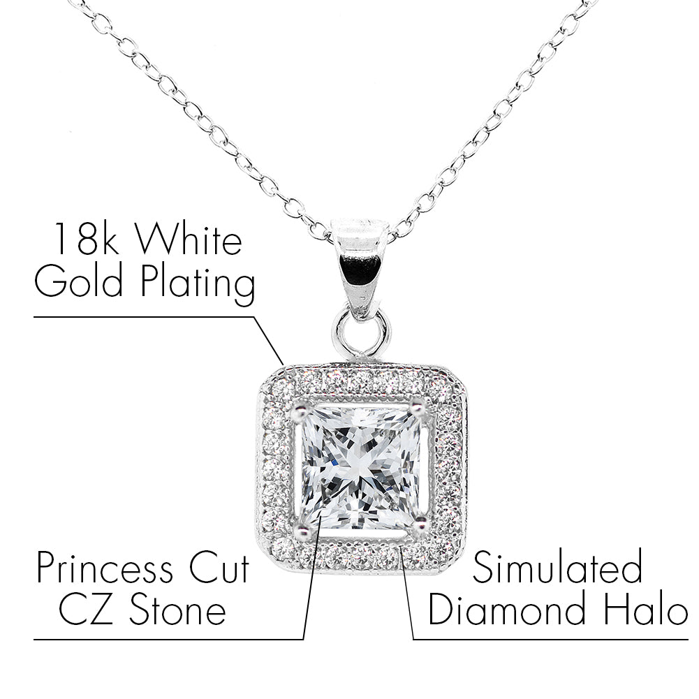 Robert Matthew Layla 18k White Gold Plated Princess Cut Halo CZ Pendant Necklace