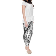 Robert Matthew Black and White Trees Print Leggings