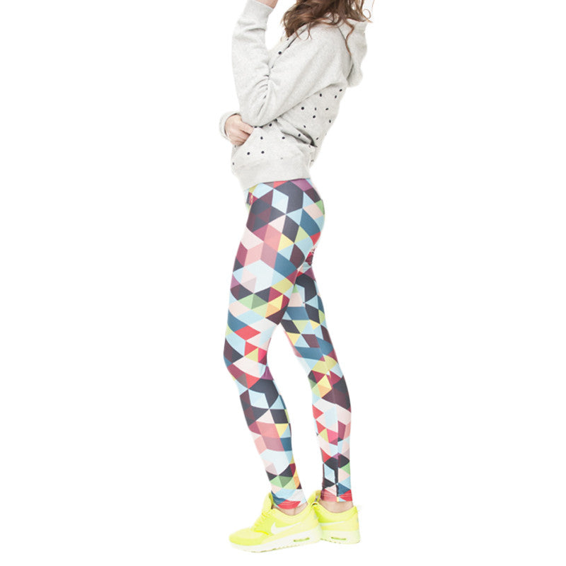 Robert Matthew Rainbow Triangles Print Leggings