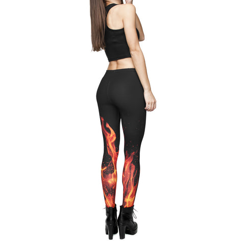 Robert Matthew Black Fire Print Leggings