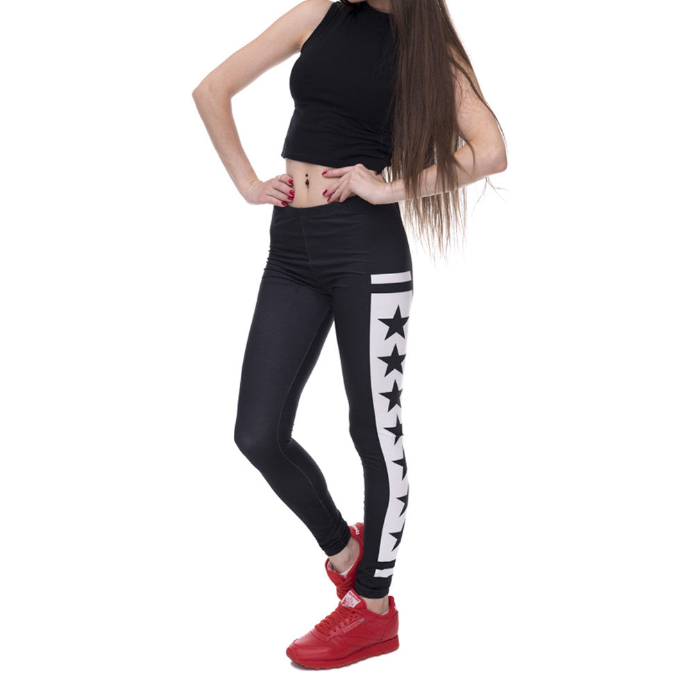 Robert Matthew Black Stars Print Leggings