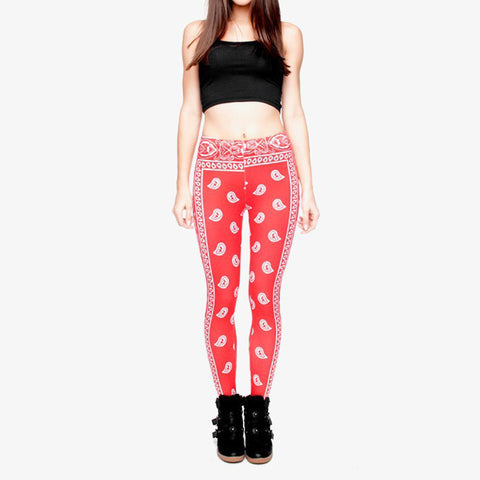 Robert Matthew One Size Print Leggings - Red Bandana Print
