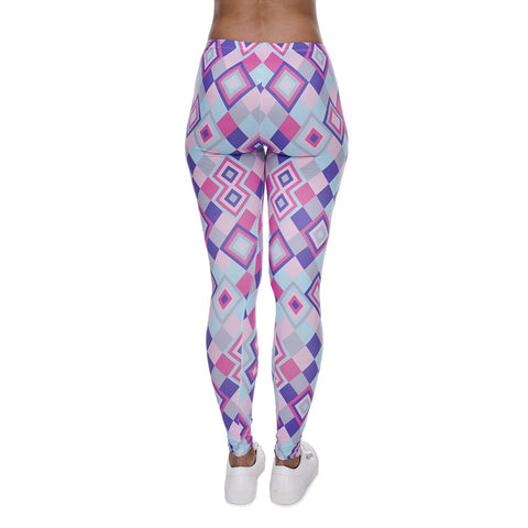 Robert Matthew One Size Print Leggings - Purple Diamonds