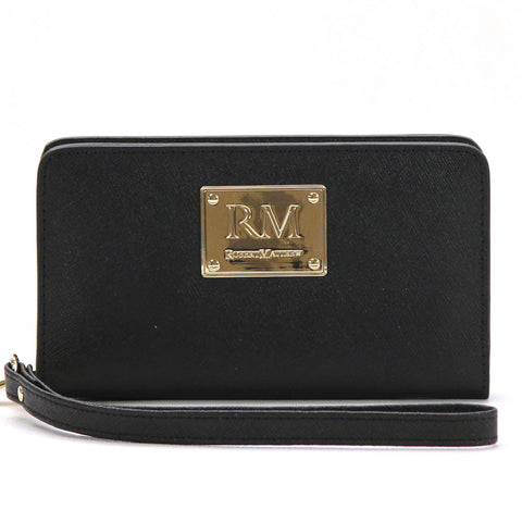 Robert Matthew Aria 24K Gold Leather Wallet Wristlet - Black Diamond