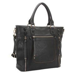 Robert Matthew Olivia Shoulder Tote - Black - Robert Matthew Handbags and Fashion
