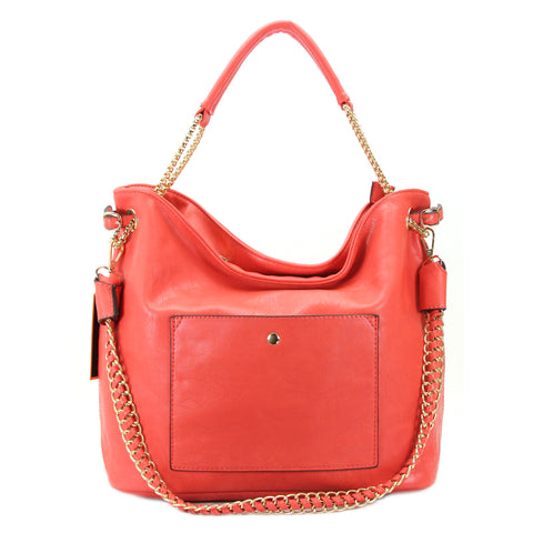 Robert Matthew Andrea Shoulder Tote - Coral Red