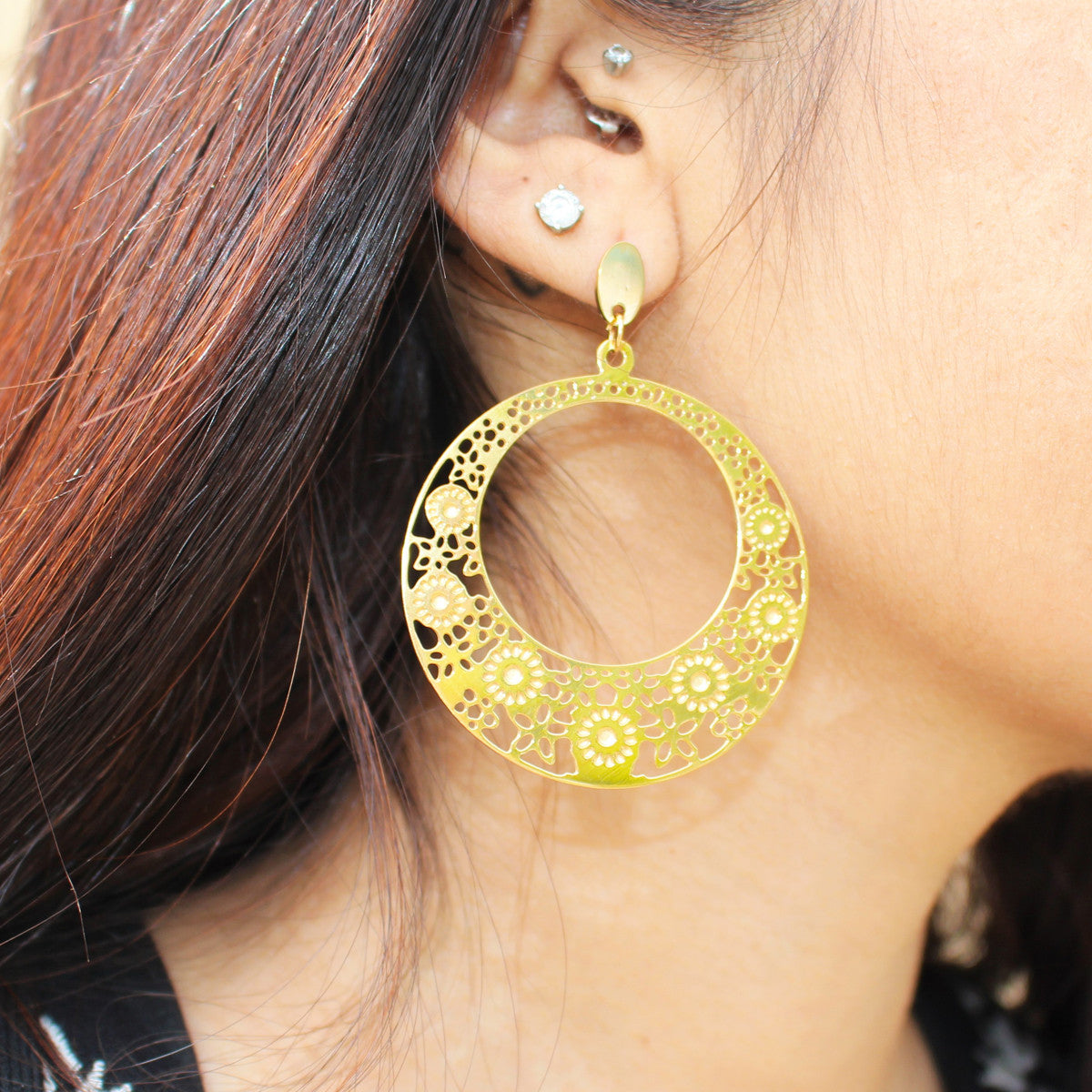 Robert Matthew Lily Hoop Earrings