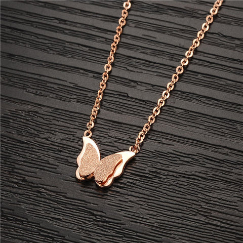 Robert Matthew Emily Butterfly 18k Rose Gold Plated Stainless Steel Pendant Necklace