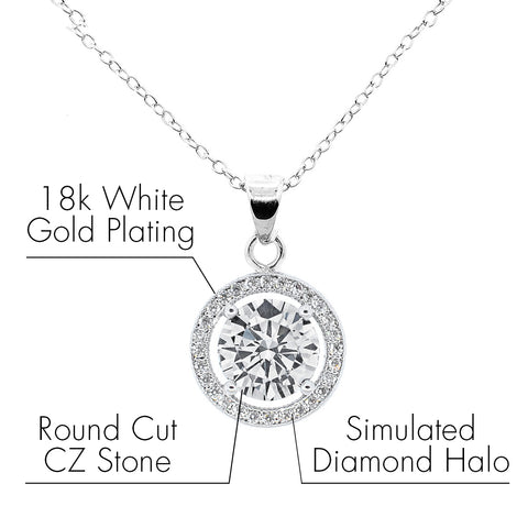 Robert Matthew Sofia 18k White Gold Halo CZ Pendant Necklace