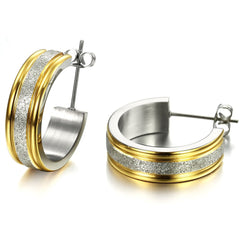 Robert Matthew Zoe 18k Yellow Gold plated Stainless Steel Hoop Earrings